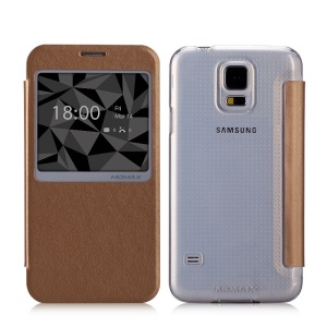 MOMAX Flip View Window Leather Phone Case for Samsung Galaxy S5 G900 / S5 Neo - Brown