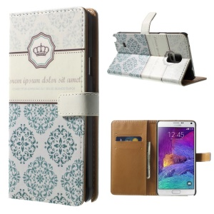 For Samsung Galaxy Note 4 N910 Wallet PU Leather Case with Stand - Crown & Moroccan Pattern
