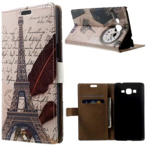 Eiffel Tower & Quill Pen Leather Magnetic Case w/ Stand for Samsung Galaxy Grand Prime SM-G530H