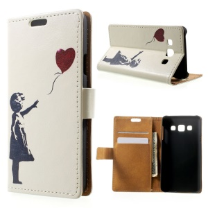 Cute Girl Flying Heart Shaped Balloon Wallet Leather Stand Case for Samsung Galaxy A3 SM-A300F