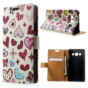 Colorized Hearts Leather Magnetic Cover w/ Stand for Samsung Galaxy A3 SM-A300F