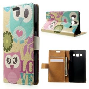 Lovely Owls & Flowers Magnetic Leather Stand Cover for Samsung Galaxy A3 SM-A300F