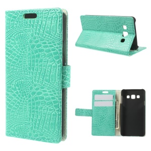Crocodile Texture Leather Magnetic Case w/ Card Slots for Samsung Galaxy A3 SM-A300F - Cyan