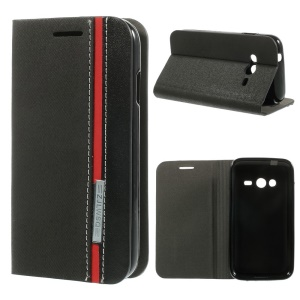 Two-color Folio Leather Stand Case for Samsung Galaxy Ace NXT SM-G313H / Ace 4 LTE SM-G313F - Black