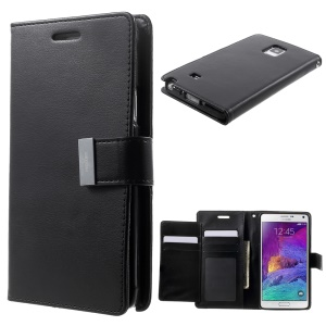 Mercury GOOSPERY Rich Diary Wallet Leather Case for Samsung Galaxy Note 4 N910 - Black