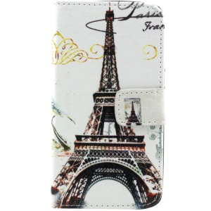 Eiffel Tower Leather Wallet Case Cover w/ Stand for Samsung Galaxy Core 2 G355H