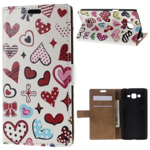 For Samsung Galaxy Grand Prime SM-G530H Folio Stand Leather Wallet Case - LOVE Cartoon Hearts