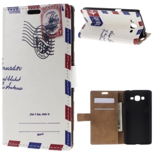 For Samsung Galaxy Grand Prime SM-G530H Folio Stand Leather Wallet Shell - Air Mail Pattern