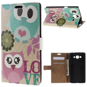 Magnetic Leather Wallet Cover Stand for Samsung Galaxy Grand Prime SM-G530H - LOVE Owl Couple