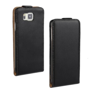 Vertical Flip Split Genuine Leathe Case for Samsung Galaxy Alpha G850F G850A - Black