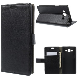 Litchi Skin Wallet Leather Stand Case for Samsung Galaxy A5 SM-A500F - Black