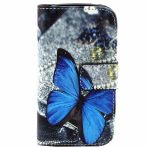 Color Painting Leather Wallet Stand Case for Samsung i8190 Galaxy S iii mini - Blue Butterfly