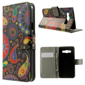 Paisley Flowers Leather Magnetic Case w/ Stand for Samsung Galaxy A3 SM-A300F