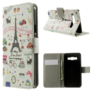 Eiffel Tower & Fruit Stand Leather Magnetic Cover for Samsung Galaxy A3 SM-A300F