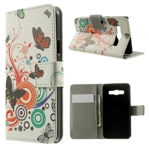 Butterfly Circles Wallet Leather Stand Cover Case for Samsung Galaxy A3 SM-A300F