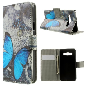 Blue Butterfly PU Leather Stand Case Cover for Samsung Galaxy A3 SM-A300F
