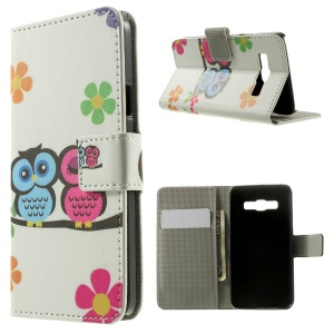 Two Owls & Flowers Wallet Leather Stand Cover for Samsung Galaxy A3 SM-A300F