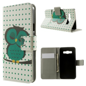 Sleeping Owl on the Branch Wallet Leather Stand Cover for Samsung Galaxy A3 SM-A300F