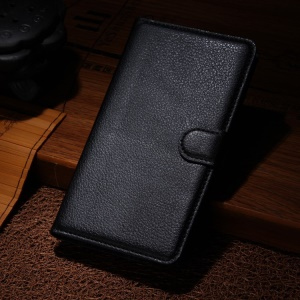 Litchi Skin Wallet Leather Stand Case for Samsung Galaxy Note Edge SM-N915A SM-N915V - Black
