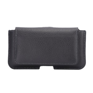Lychee Grain Leather Waistband Holster with Magnetic Flip & Card Slot for iPhone X 5.8 inch / Samsung Galaxy S5 S6/Sony Xperia Z2 - Black