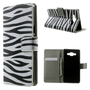 Zebra Stripes Flip Leather Wallet Stand Case for Samsung Galaxy A5 SM-A500F