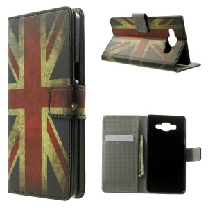 Vintage Union Jack Flag Leather Wallet Stand Cover for Samsung Galaxy A5 SM-A500F