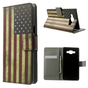 Retro American Flag Leather Wallet Stand Shell for Samsung Galaxy A5 SM-A500F