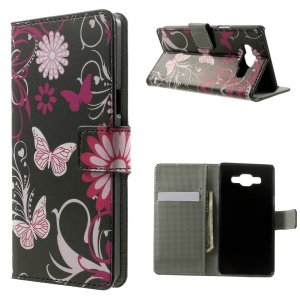 Butterflies & Flowers Leather Wallet Stand Shell for Samsung Galaxy A5 SM-A500F