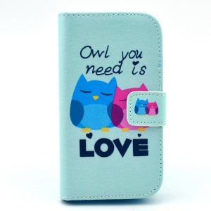 Romantic Couple Owls Wallet Leather Case Cover for Samsung Galaxy Ace NXT SM-G313H w/ Stand
