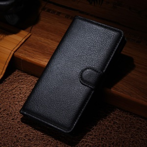 Litchi Leather Stand Wallet Case for Samsung Galaxy A5 SM-A500F - Black