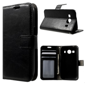 Crazy Horse Texture Leather Wallet Case for Samsung Galaxy Ace Style LTE G357FZ / Ace 4 G357FZ - Black