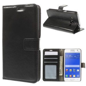 Crazy Horse Pattern for Samsung Galaxy Core 2 G355H Wallet Leather Stand Case - Black