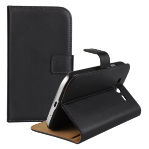 Split Genuine Leather for Samsung Galaxy Grand Neo I9060 Wallet Magnetic Shell - Black