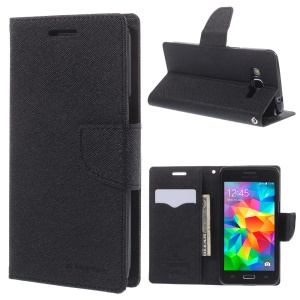 MERCURY Goospery Fancy Diary for Samsung Galaxy Grand Prime SM-G530H Wallet Leather Stand Case - Black