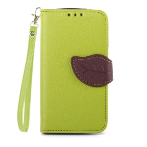 Litchi Grain Leather Stand Case for Samsung Galaxy S Duos S7562 S7582 S7560 w/  Lanyard - Green