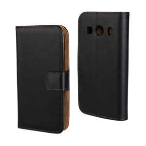 Black Genuine Split Leather Wallet Case Stand for Samsung Galaxy Ace Style LTE G357FZ / Ace 4 G357FZ