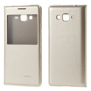 Window View for Samsung Galaxy Grand Prime SM-G530H Folio Leather Battery Housing Replacement - Champagne