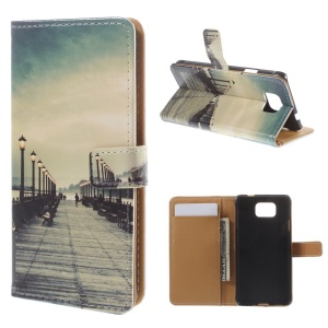 Seaside Trestle for Samsung Galaxy Alpha SM-G850F SM-G850A PU Leather Stand Cover