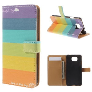 Colorized Horizontal Stripes for Samsung Galaxy Alpha SM-G850F SM-G850A Wallet Leather Stand Cover