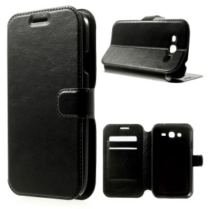 Crazy Horse Leather Case for Samsung Galaxy Grand Neo I9060 w/ Card Slots - Black