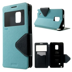 ROAR KOREA Diary View Window Leather Card Slot Cover for Samsung Galaxy Note Edge N915V N915A - Baby Blue