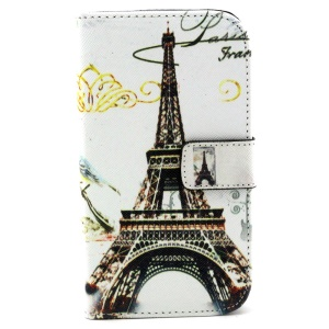 Wallet Leather Shell for Samsung Galaxy Grand Neo I9060 I9062 I9082 I9080 w/ Stand - Eiffel Tower