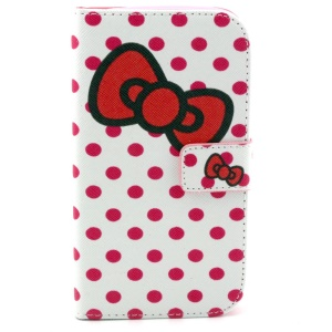 Wallet Leather Shell for Samsung Galaxy Grand Neo I9060 I9062 I9080 I9082 w/ Stand - Polka Dots & Bowknot