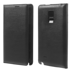 Folio Leather Battery Door Cover for Samsung Galaxy Note Edge SM-N915A SM-N915V w/ Card Slot - Black