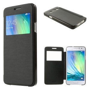 For Samsung Galaxy A3 SM-A300F View Window Leather Cover w/ PC Back - Black