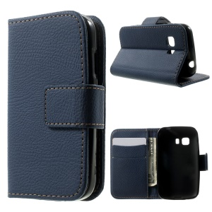 Lychee Texture Wallet Leather Stand Cover for Samsung Galaxy Young 2 SM-G130 - Blue