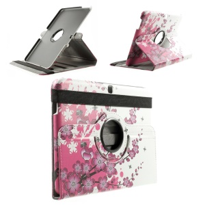 Rotary Stand Leather Smart Cover for Samsung Galaxy Tab 4 10.1 T530 / 3G T531 / LTE T535 - Plum Blossom