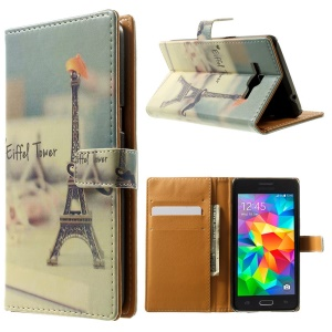 Folio Stand Wallet Leather Skin Case for Samsung Galaxy Grand Prime SM-G530H - Eiffel Tower