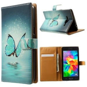 Magnetic PU Leather Wallet Cover for Samsung Galaxy Grand Prime SM-G530H - Pretty Butterfly