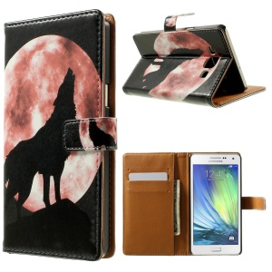 Wolf & Moon Pattern Leather Wallet Case for Samsung Galaxy A5 SM-A500F w/ Stand